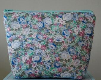 Mint Spring Rose Make Up Bag, Cosmetic Bag, Floral, Ladies Gift Idea - Mint Rose Floral Design