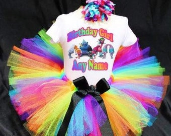 Trolls Birthday Outfit, Trolls Tutu, Trolls Shirt, Trolls Hair, Girls Birthday, Trolls Birthday, Troll TShirt, Troll Personalized Shirt