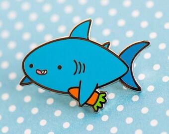Vegan shark enamel pin – cute enamel pin, shark accessories, shark pin