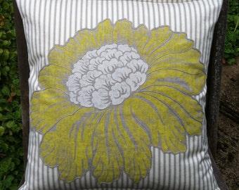 Yellow Flower Ticking Cushion