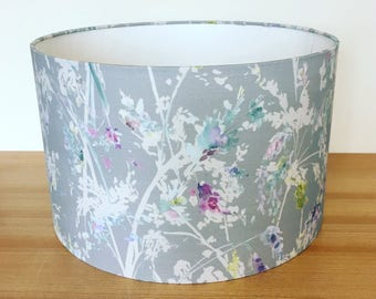 Handmade Fabric Lampshade. Fenadina by Voyage, In 'Summer' Colourway. Watercolour Blossom.