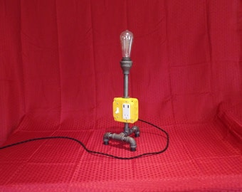 Pipe Table Lamp, Charging Station, Yellow Pipe Light, Edison Bulb, Industrial Light
