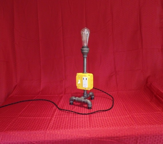 Pipe Table Lamp Charging Station Yellow Pipe Light Edison
