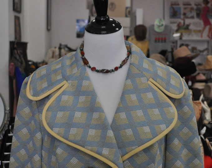 Vintage 1960s Lilli Ann Light Gold, Blue, and White Admiral Style Coat with Lion Buttons