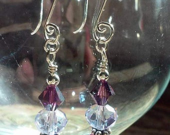 Purple Cloudy Dreams, Swarovski Crystal, Sterling Silver, Frosted bead, birthday, wedding
