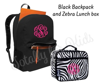 Monogrammed Backpack and Lunch box Set Zebra Lunch Box Black Backpack Personalized Back to School Bookbag Set