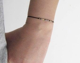 Morse code bracelet, Miyuki gold plated, morse code