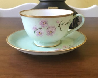 Vintage Hand Painted Teacup and Saucer, Cherry Blossoms, Japan, Artist signed