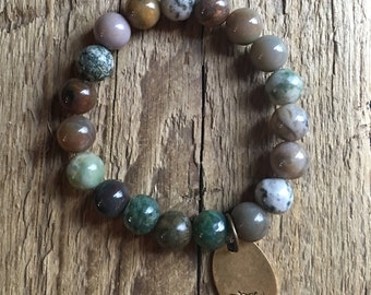 Green & Brown Tone Granet Beaded Bracelet Bee Charm
