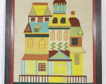 Modern Brightly Colored Housing Needlepoint