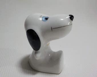 Small Snoopy Figurine - White Dog Figurine - Vintage Porcelain Dog Figurine-Hand-painted pottery