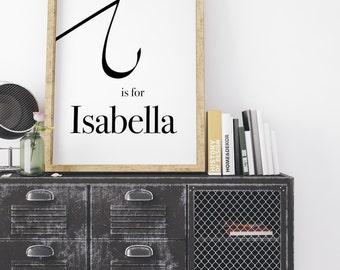 Isabella, Calligraphy Print, modern calligraphy, Typography Print, Baby Name Print, Typography Wall Art, Monogram Print, I Letter print