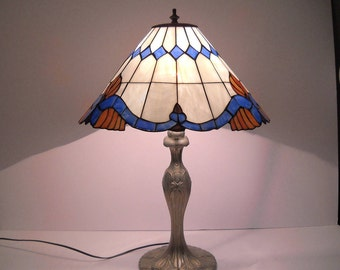 Stained Glass Lamp with Blue and Orange Design