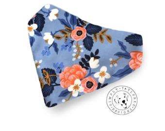Blue Floral Dog bandana, Doggy Bandana, Over the Collar, Flower Bandana, Dog Gift, Cat Bandana, Gifts for Pets, Personalized, Monogram Dog