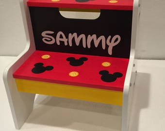 Mickey Mouse kids step stool - Mickey Mouse furniture - Mickey Mouse nursery - Mickey mouse gift - Mickey Mouse kids