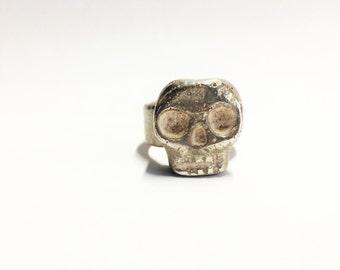 Mens Skull Ring, Mens Sterling Silver Ring,Mens Biker Ring,Rocker Ring,Goth Ring, biker jewelry, .925, Johnny Depp Jewelry - Lugdun Artisans