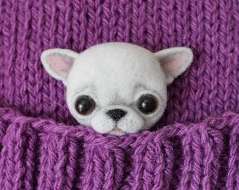 Chihuahua, brooch made of wool dog. Chihuahua felted, needle felted animal, needle felt chihuahua, READY TO SHIP