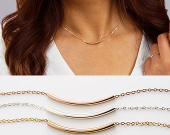 Curved Bar Necklace, Dainty Gold Bar Necklace, Long Gold Bar, Simple Bar Necklace, Simple Gold Necklace, Simple Silver Necklace ZN00290
