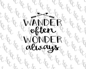 Reusable Stencil - Wander Often Wonder Always - Many Sizes to Choose from!