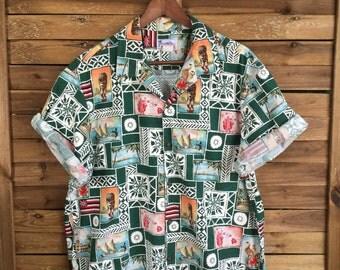 Camisa Hawaiiana Estampada con Motivos Hawaiianos Hawaiian print