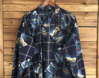 Camisa Estampada Chaps Ralph Lauren Vintage 80s Print Shirt