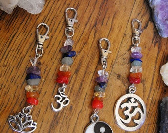 Chakra Stone Clip-on Gemstone Charms,  Purse, handbag, or Keyring