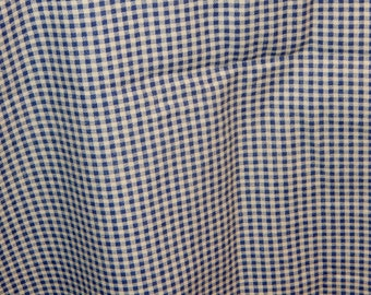 Blue and White Small Checked Pattern Heavy Weight Cotton Fabric