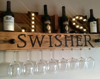 Customized Pallet Wine Rack
