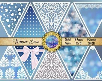 SALE Love Digital Paper, Valentine's Day digital paper, blue heart paper, winter digital paper, romance, lace, Damask digital, Commercial