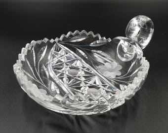 Vintage American Brilliant Period ~ Nappy Dish ~ Sawtooth Scalloped Edge ~ Etched Flowers ~ 5 Pointed Stars