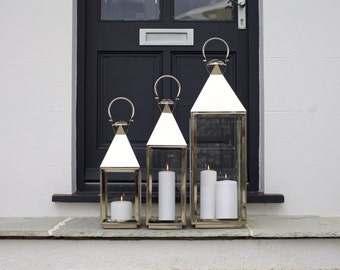 Tall Silver Candle Lanterns - Christmas Lighting