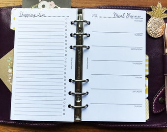 Printed PERSONAL Size, Weekly Meal Planner Shopping List #pe32