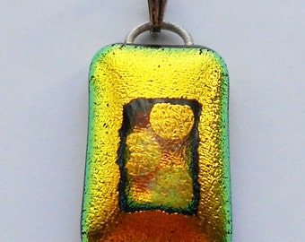 Gold Dichroic Glass Pendant with Dots