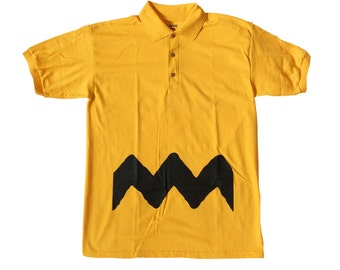 Charlie Brown Adult Polo T-shirt As Worn In Peanuts Comics Cartoon Movie TV Zig Zag Costume Christmas Gift Shirt Cosplay Gold Yellow
