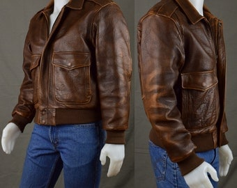 Mens Clothing Vintage Mens Leather Bomber Jacket 80s Mirage A2 StyleGear  - Flight Aviator Jacket - Motorcycle Bike- Made in Korea - Size 40
