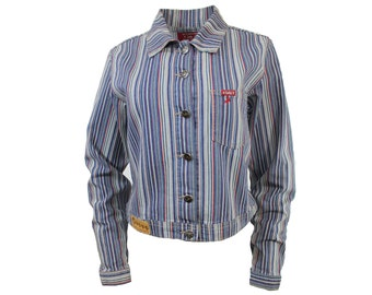 striped denim jacket / CLEARANCE button up spring jacket / M / on sale