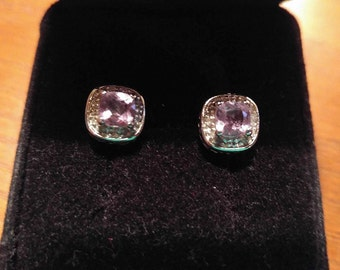Sterling Silver .925 Purple Amethyst Square Shaped J/K Color I3 Diamond Earrings Anniversary Birthday Christmas Valentine's Day Gift Vintage