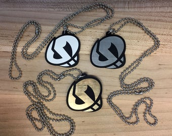 Pokémon Team Skull Plumeria Cosplay Necklace, Team Skull Symbol Keychain or Necklace (various colored acrylic, laser-cut)
