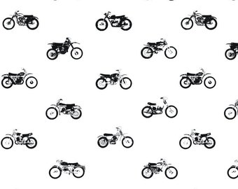 Motorcycle Fabric by the Yard. Quilting Cotton Organic Knit Jersey Minky. Black and White Bike Retro Boy Bicylces Nursery Monochrome