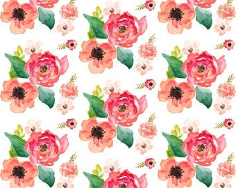 Floral Dreams Quilting Fabric. Fabric by the Yard. Cotton Knit Jersey Minky. Flower Flowers Watercolor Garden Roses Pink Peach Orange Boho