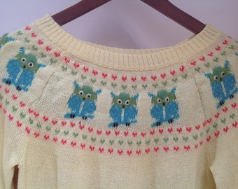 Owls Sweater 90s Vintage Yellow Knit Raglan Sleeve sz. M