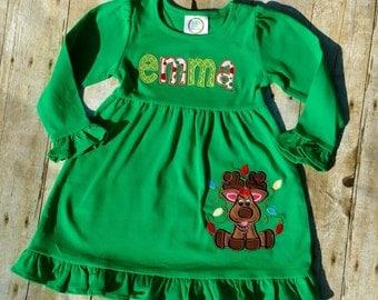 Tangled Up Reindeer Ruffle Dress