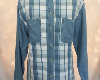 Unisex Grunge Distressed 90s Blue Plaid Denim Button Down Shirt - 90s Grunge Top with Pockets - Plaid Shirt