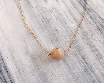 Sunstone necklace with rose gold chain