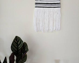 Black & White Woven Wall Hanging | White and Black Wall Decor | White Woven Wall Hanging | Nursery Decor