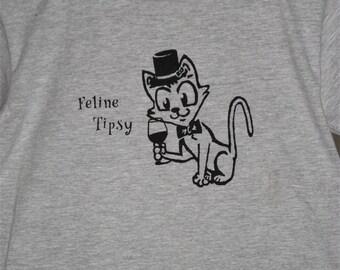 Wine Cat T-shirt Feline Tipsy : Hand Screen Printed, kitten, wine glass, top hat, bow tie, kitschy, black, grey, screenprint, women's, men's