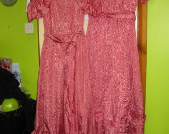 A Pair of Pink Vintage bridesmaid dresses, 70's, UK size 14 ?,
