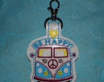 Be Happy Hippie Bus/ Peace Van Keychain