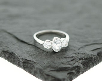 925 Sterling Silver Past Present Future Three Stone Ring, Engagement Ring, Wedding Ring
