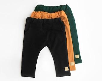 Basic Kids Pants with cute strings - boys girls soft cotton pants, baggy pants, black, yellow, emerald green, baby pants - Little Acorns